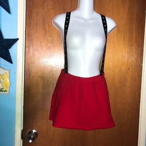Folter XL Red Mini Skirt w Suspender Straps